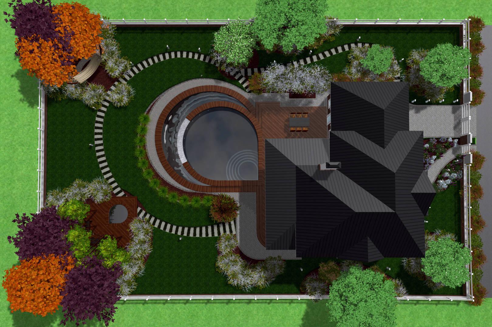 Варианты ландшафтного дизайна прямоугольного участка