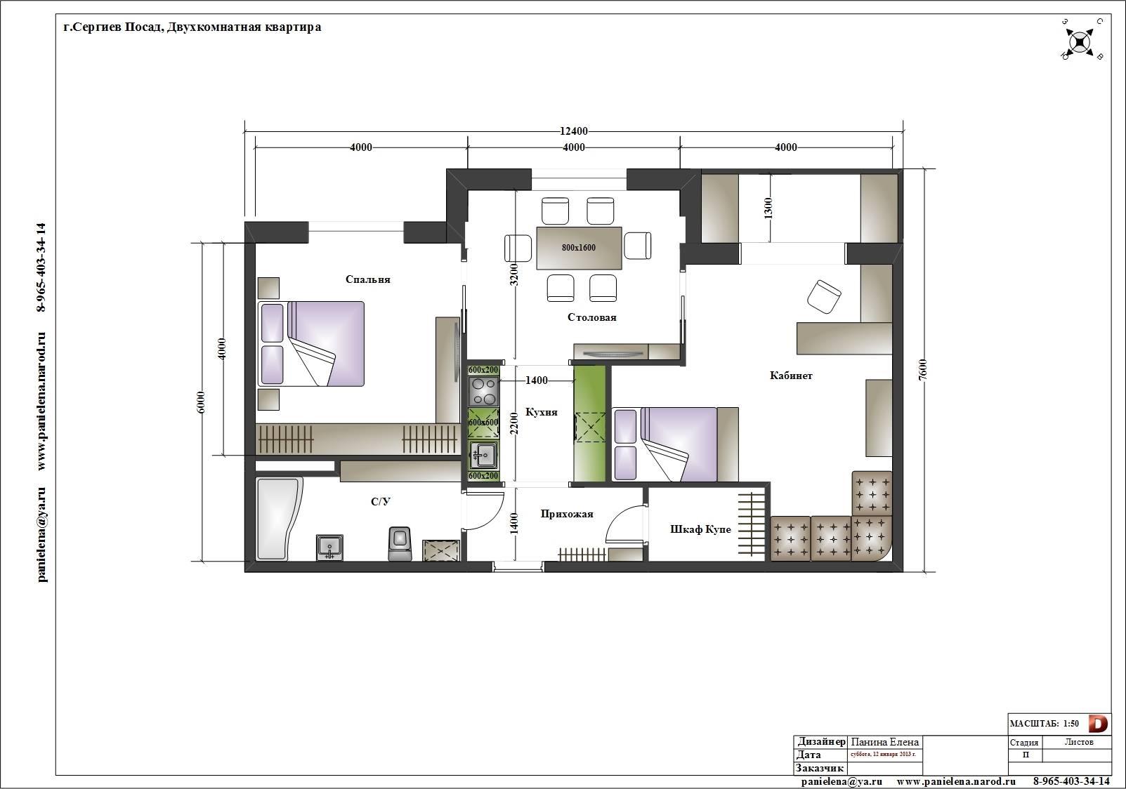 Перепланировка и дизайн двухкомнатных квартир