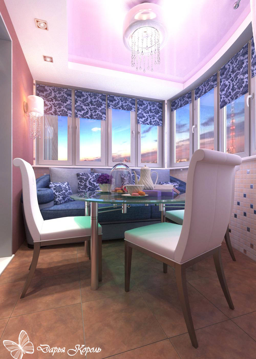 Лоджия-столовая фуксия - интерьеры квартир, домов - myhome.r.