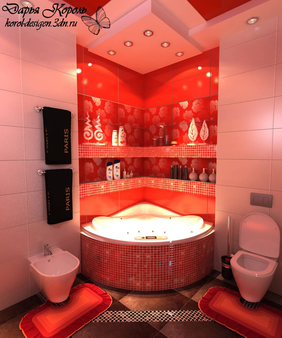 дизайн красно-белой ванной фото