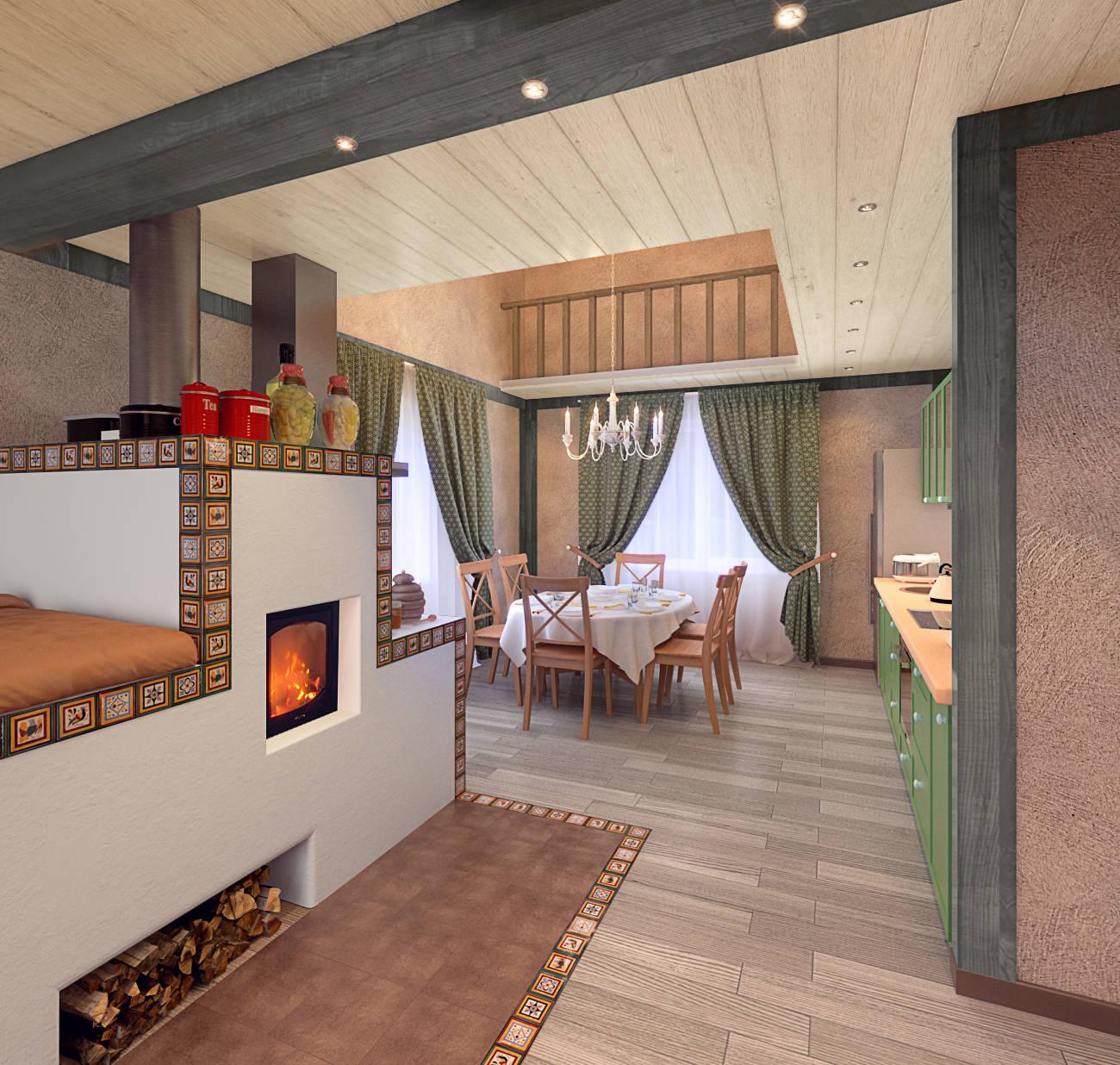 Дизайн дома с печью в центре