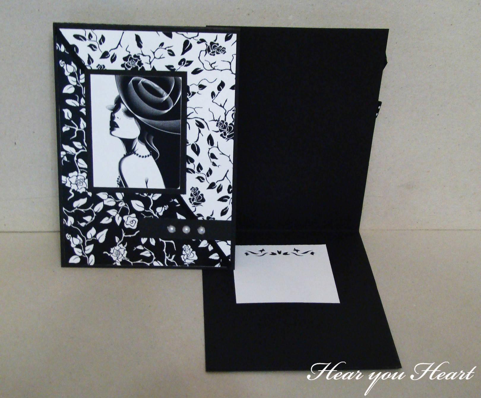 Черно-белая открытка для мужчины своими руками6