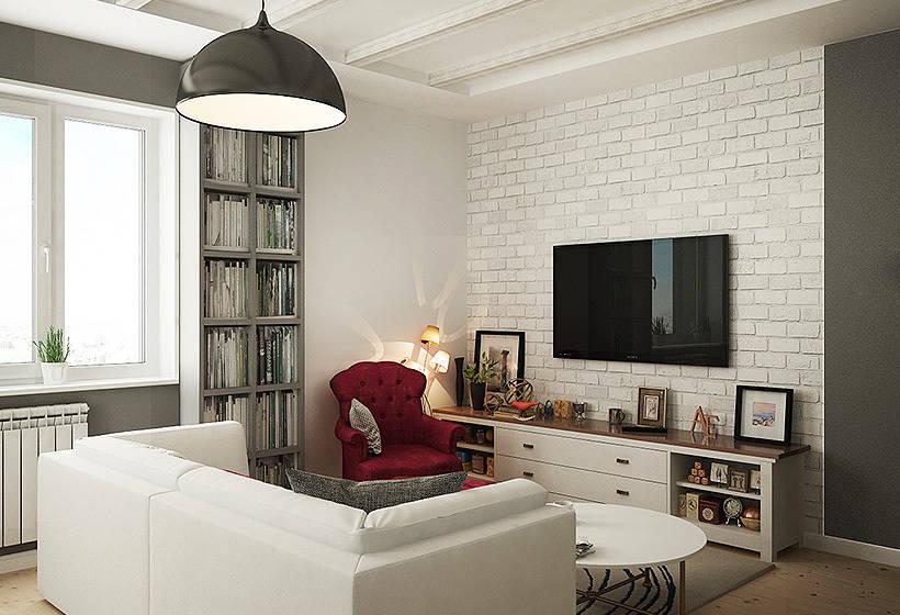 Дизайн гостиной с белой кирпичным