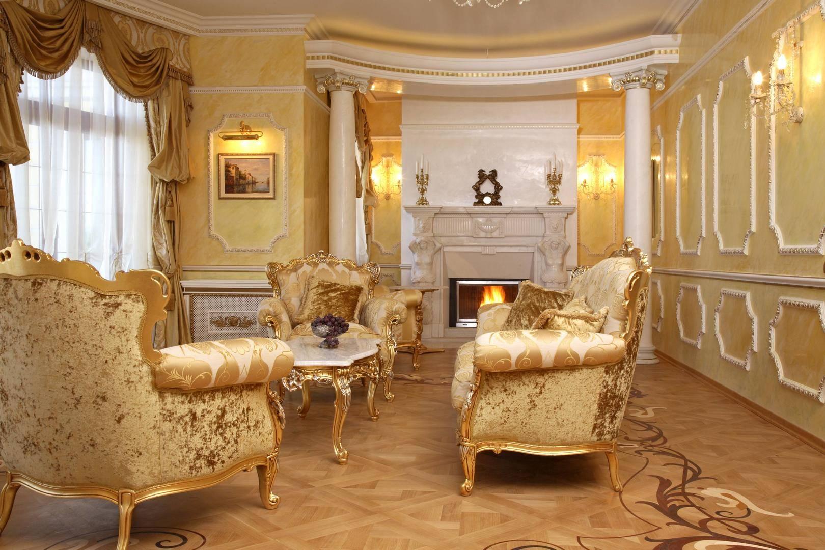 Оттенки золота в дизайне гостиной-столовой 59