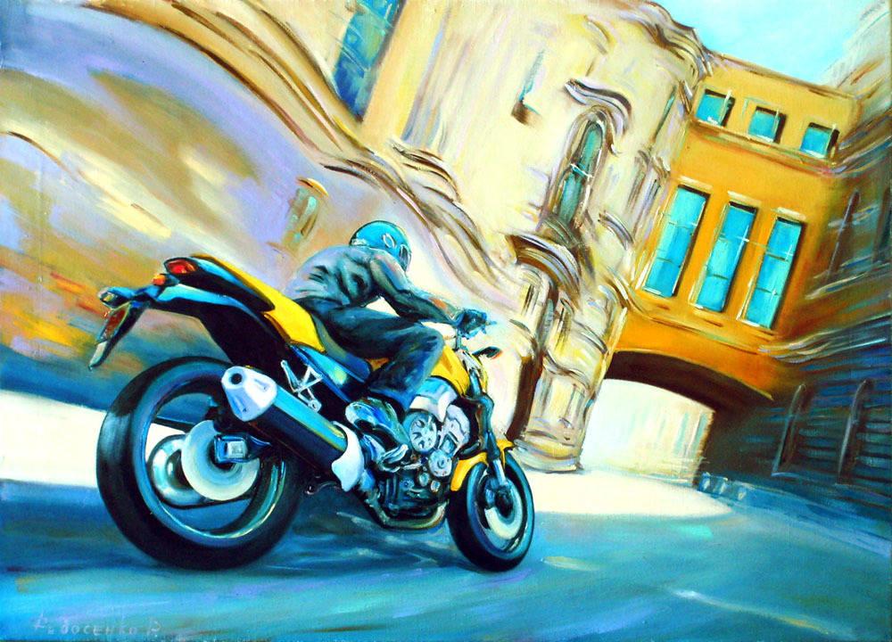 Нарисованные картины с байкерами и мотоциклами