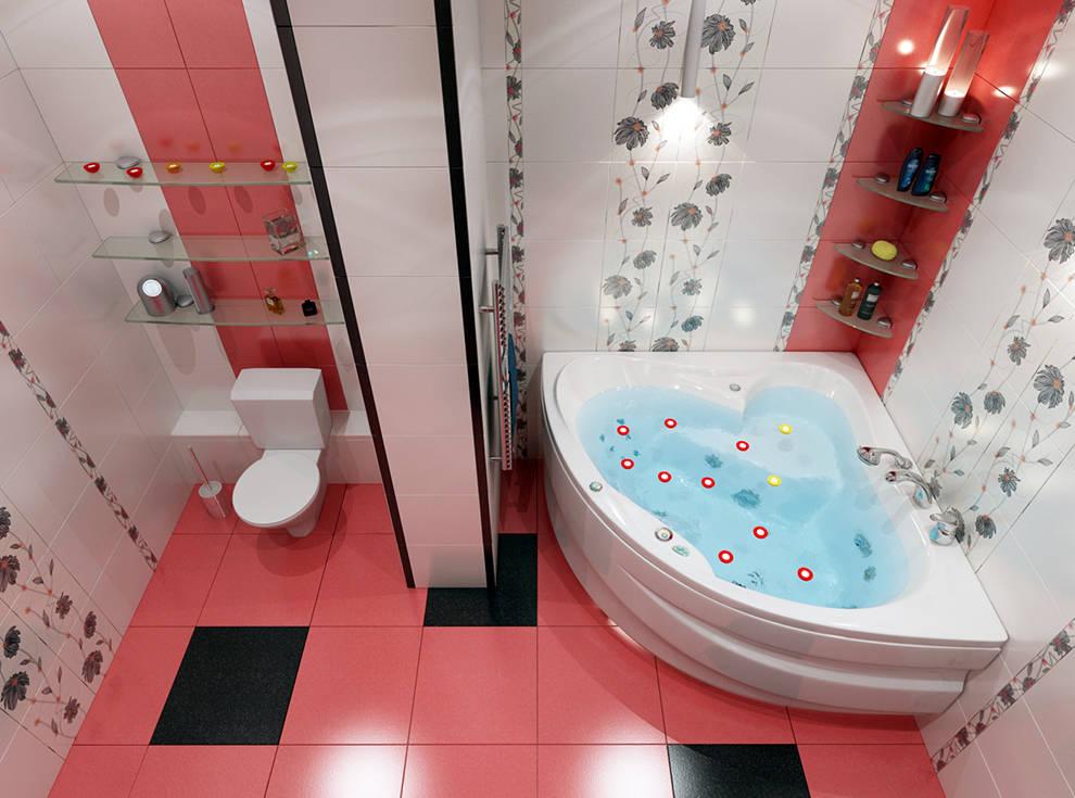 Дизайн ванной и туалета современный плитка