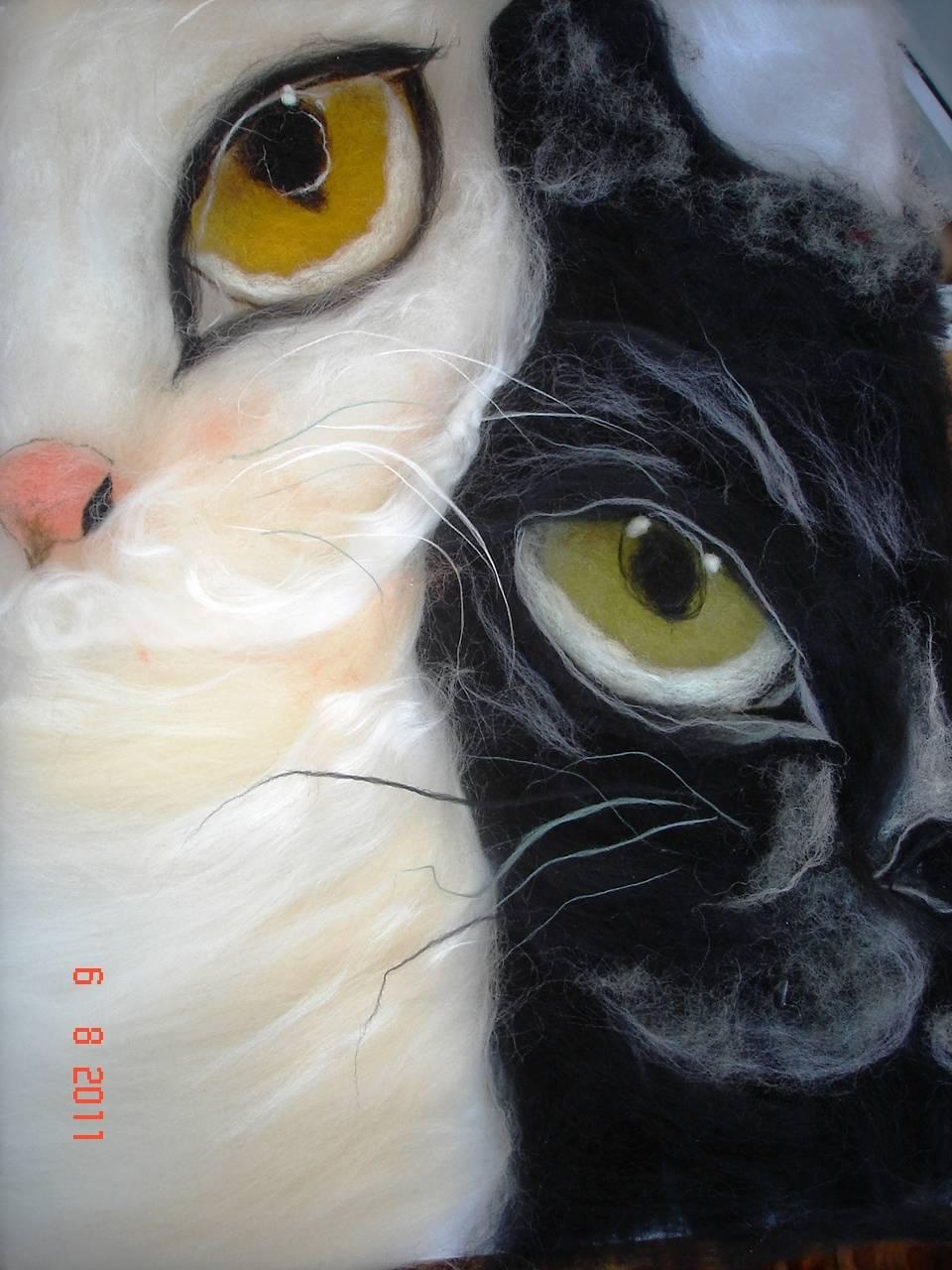 Мастер класс по картинам кота из шерсти