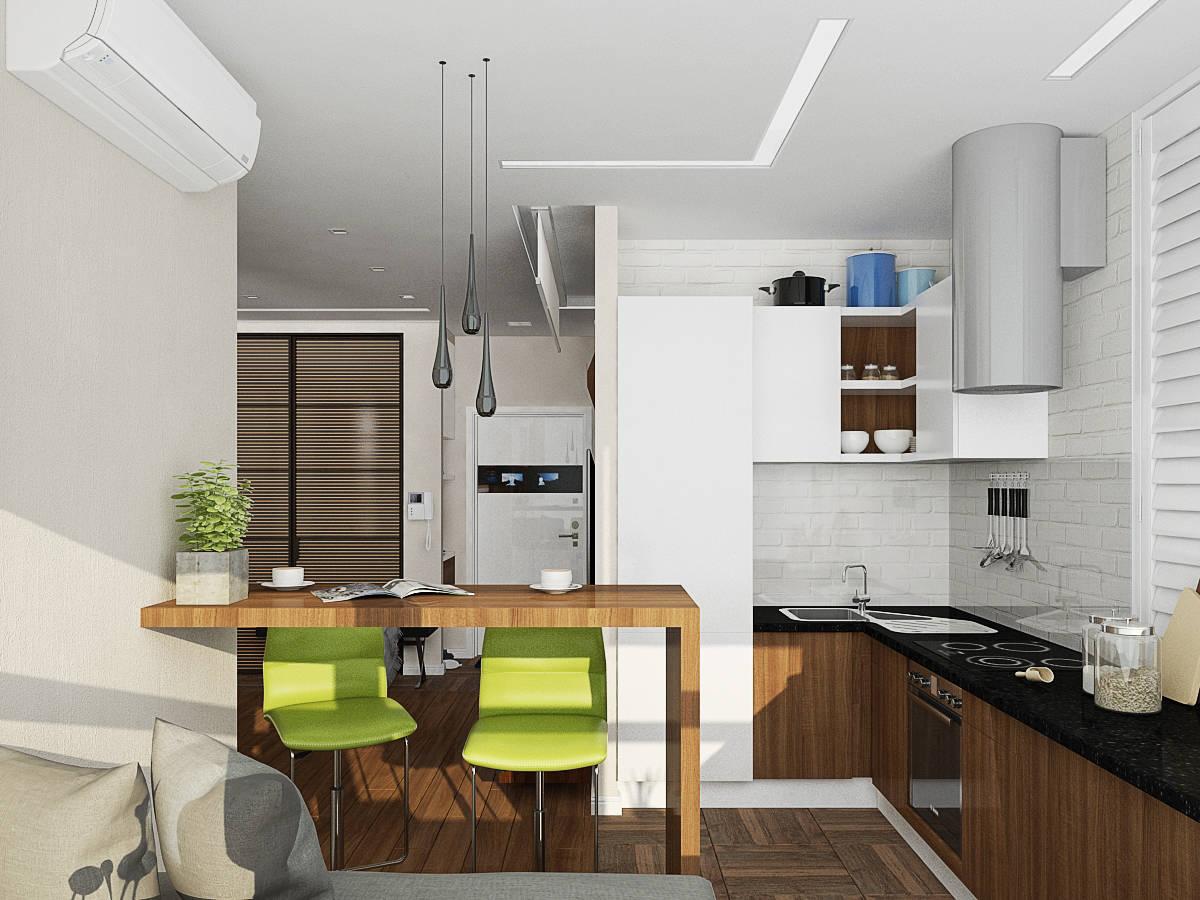 Кухня студия с барной стойкой дизайн фото 129
