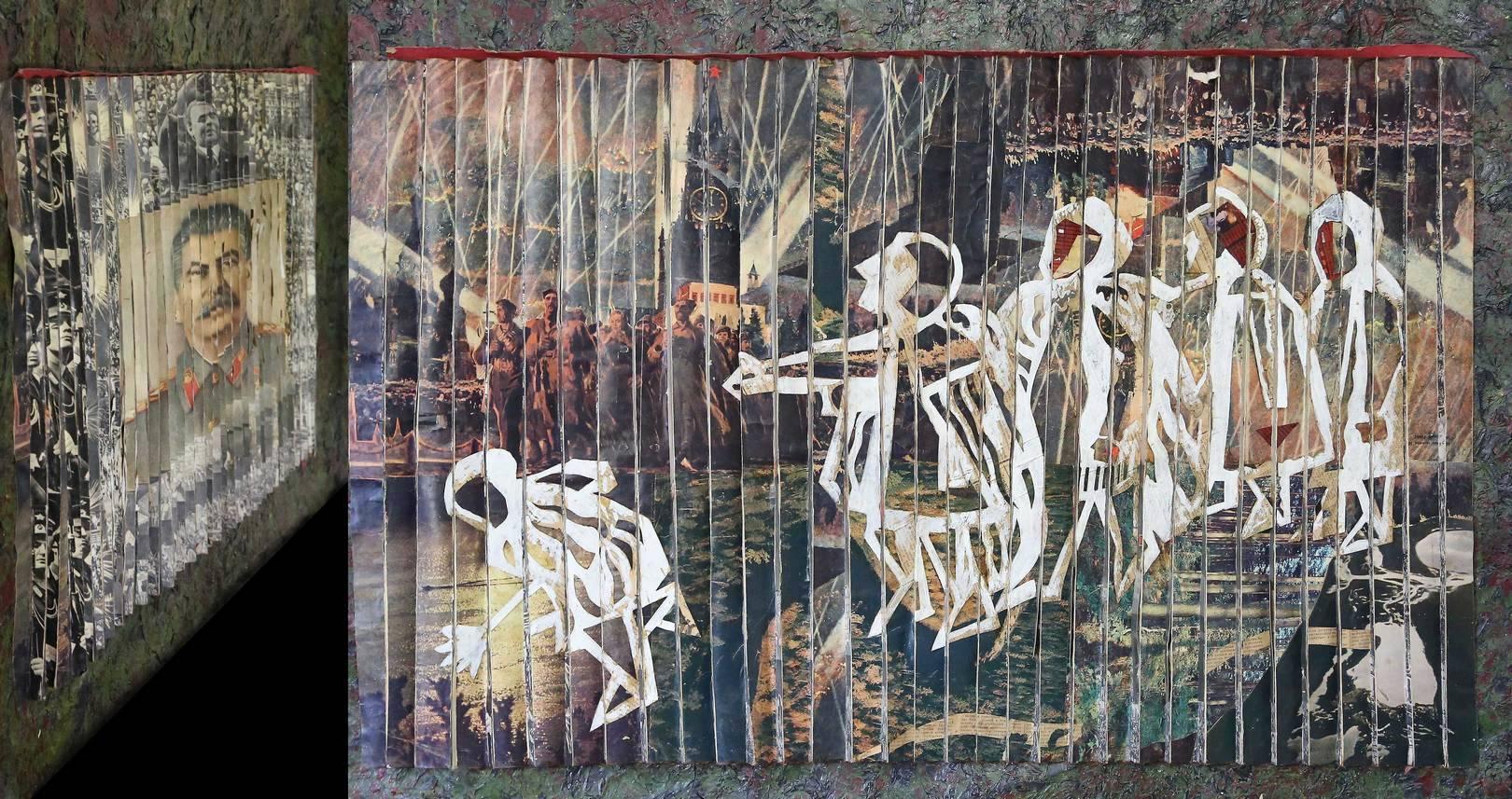 «)МЫ(» Правая часть полиптиха часть потиптиха, 1989 г, 80х120 В огромных дворцах, Не дающих приют, Созерцая миражи в пол-неба, Слепцы, Мнящие себя провидцами...  Мы Распахиваем ворота всякий раз, Когда слышим стук в дверь Или стук сердца...  Осколки прошлого Больно ранят руки - Его не склеить… А. Кобызев