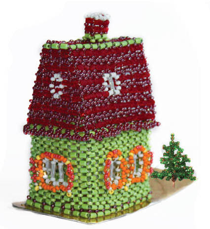 Fairy-tale house Size: 90×45×85 mm. Beads, Czech beads, decorated with rhinestones.