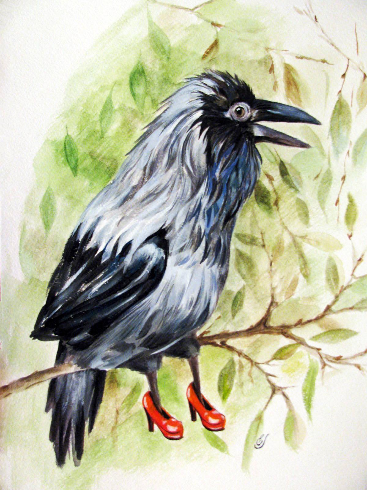 Каркуша - мамина ворона.  Красные туфельки.