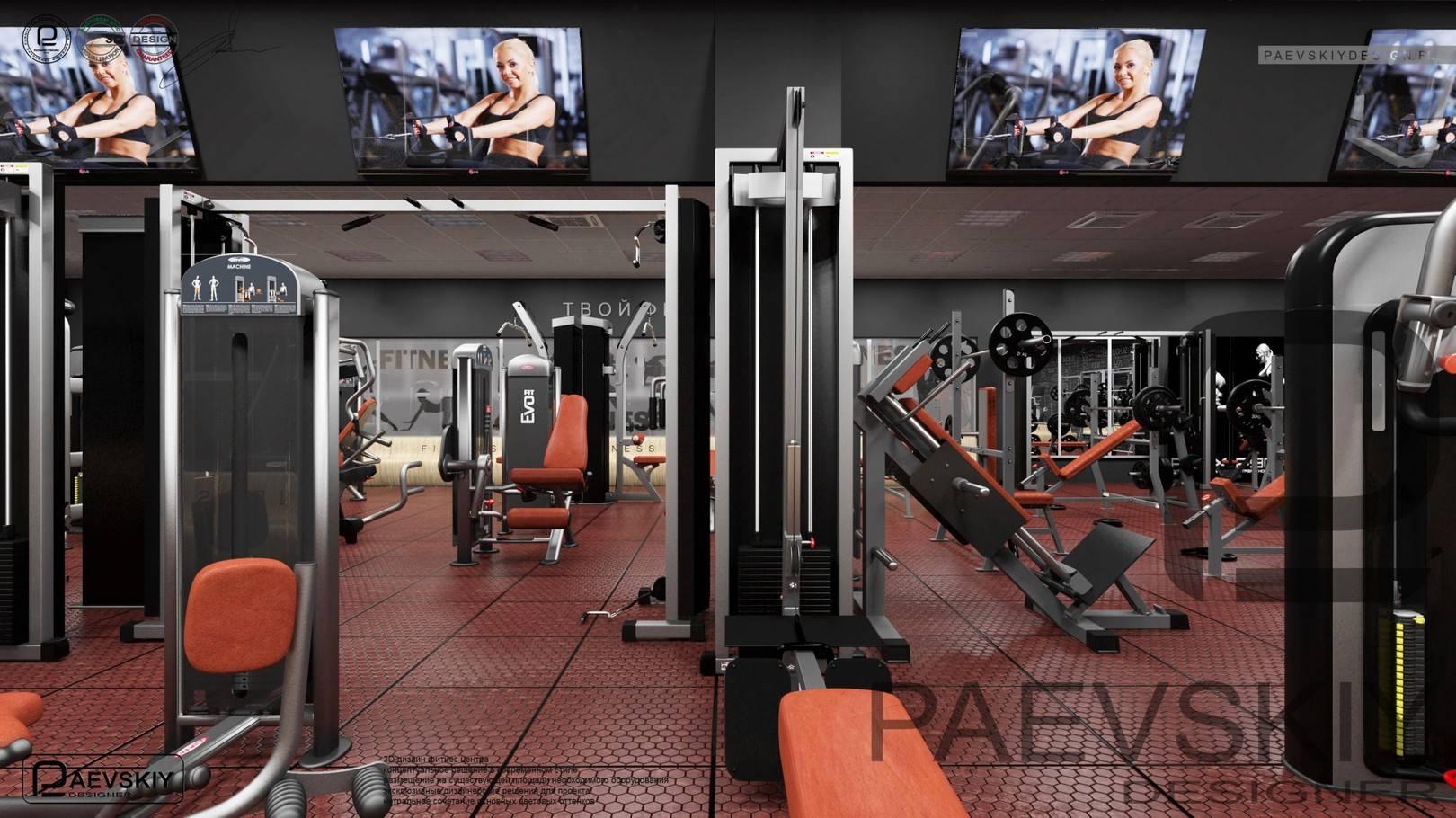 Концепция дизайна тренажерного зала фитнес центра