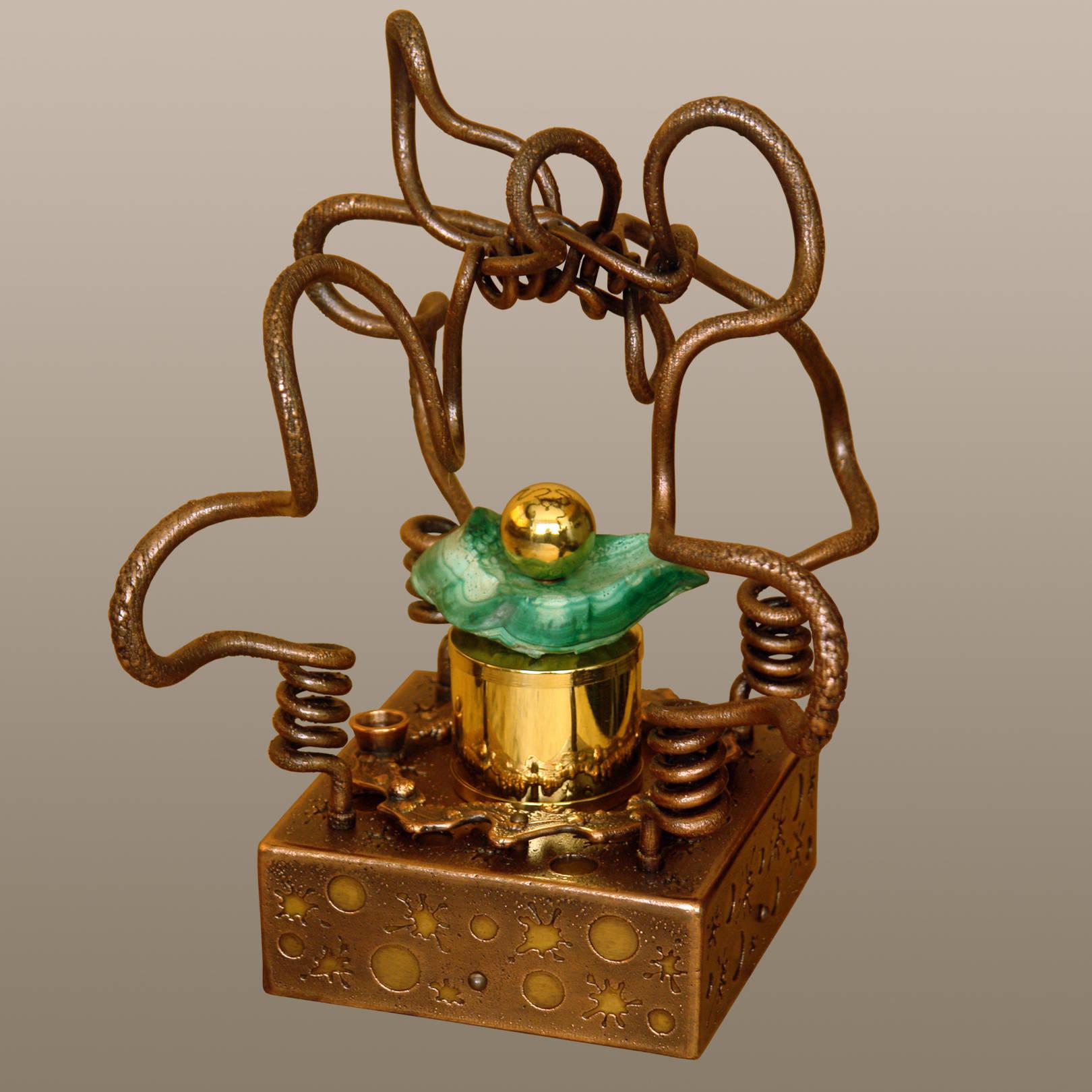 «Алхимия или Создание философского камня»    (медь, латунь, анодированная сталь, заирский малахит)   24х23х29,5 см
