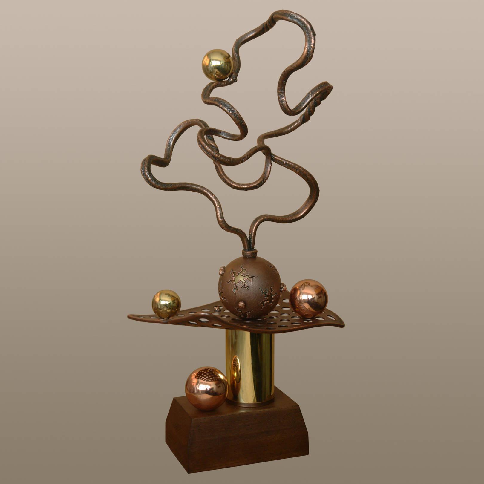 «Сито времени»   (медь, латунь, анодированная сталь, дуб)  53х20х24 см