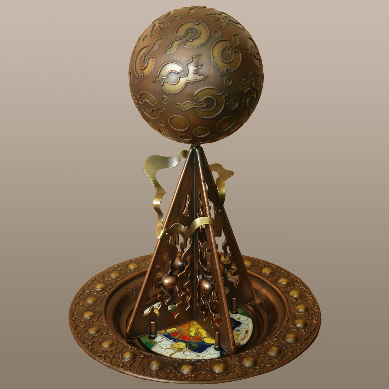 «Точка концентрации. Пятое солнце»   (медь, латунь, горячая эмаль)  50х39х39 см
