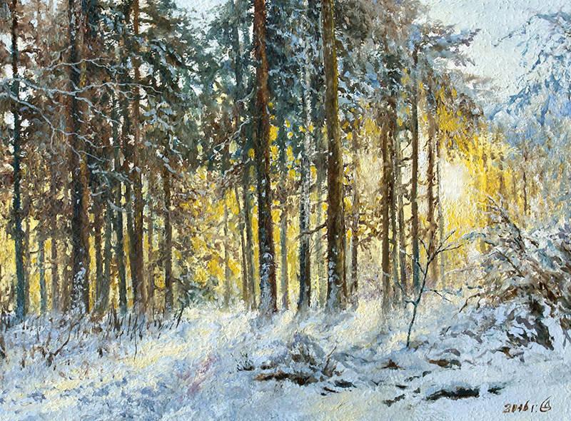 """Солнечный лес"" - к/м, 18х24"