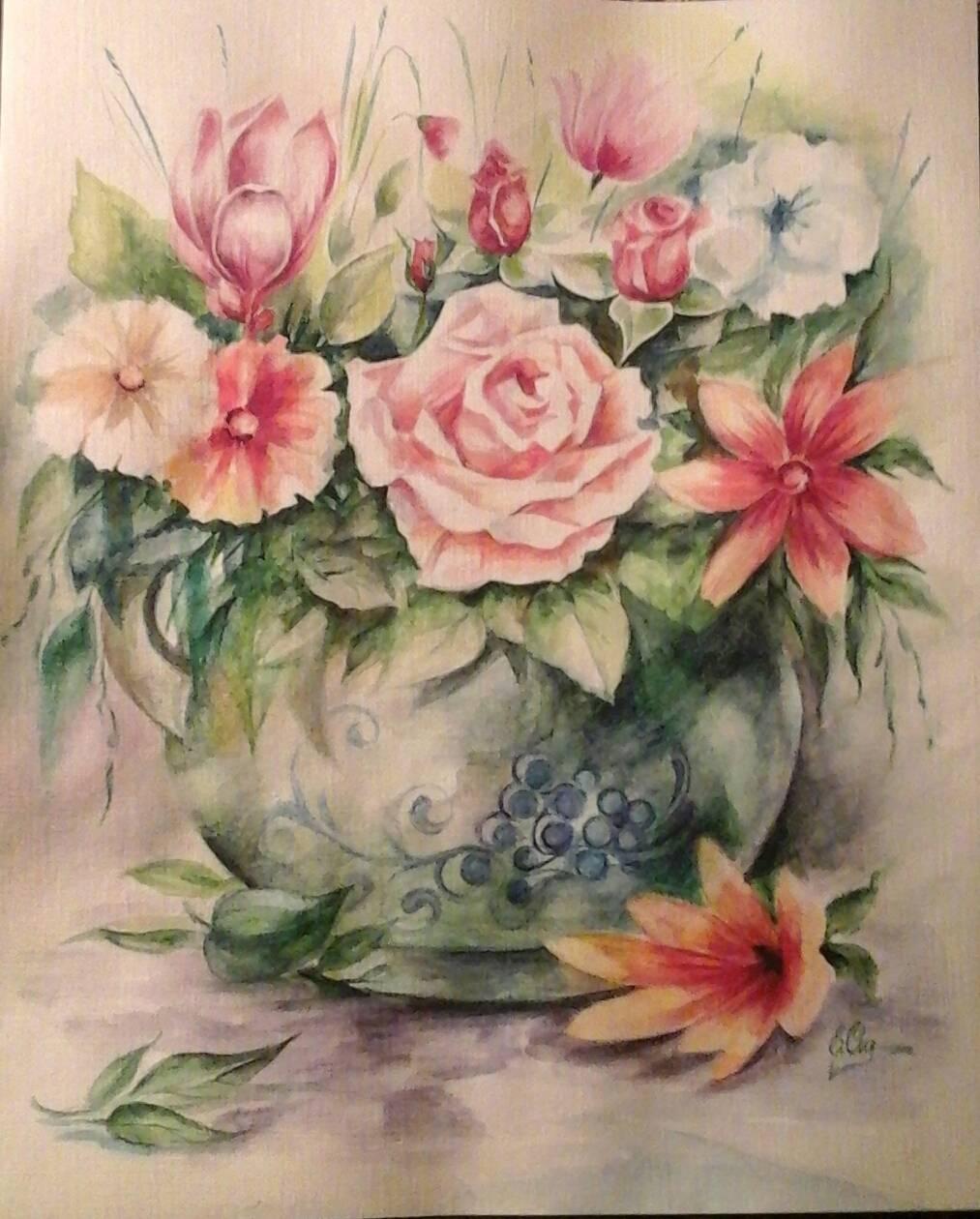 акварель,цветы