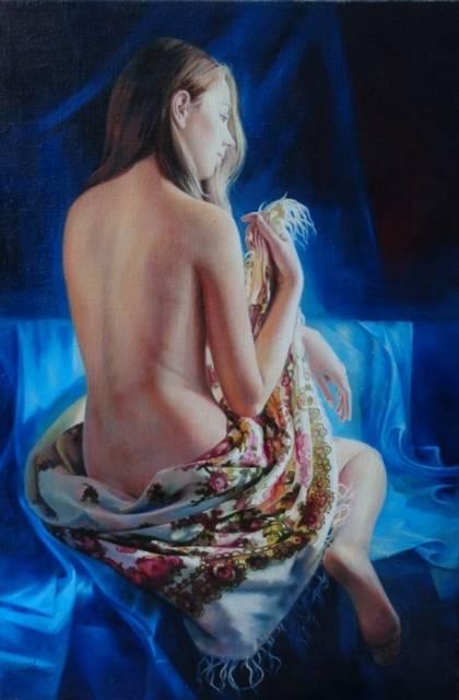 Девушка в павлопосадском платке холст,масло 40х60 2015