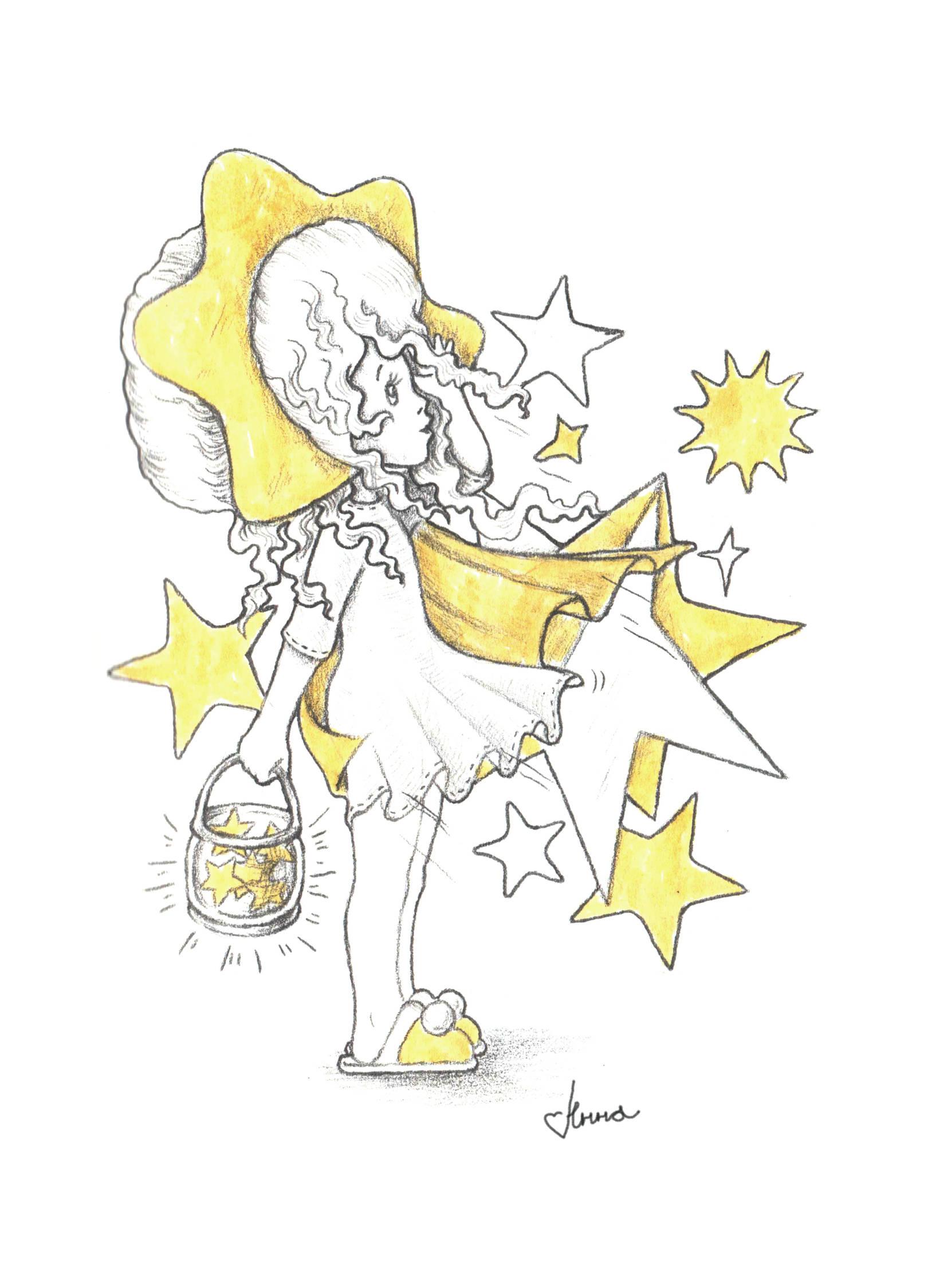 """""""Девочка - звезда"""". Серия """"Детские шалости"""". Графика, 2016 год.  Звёзды падают... Звёзды галактики... Мы так редко смотрим в небо, что звёзды в городах почти не видны. Скоро они и вовсе исчезнут как боги..."""