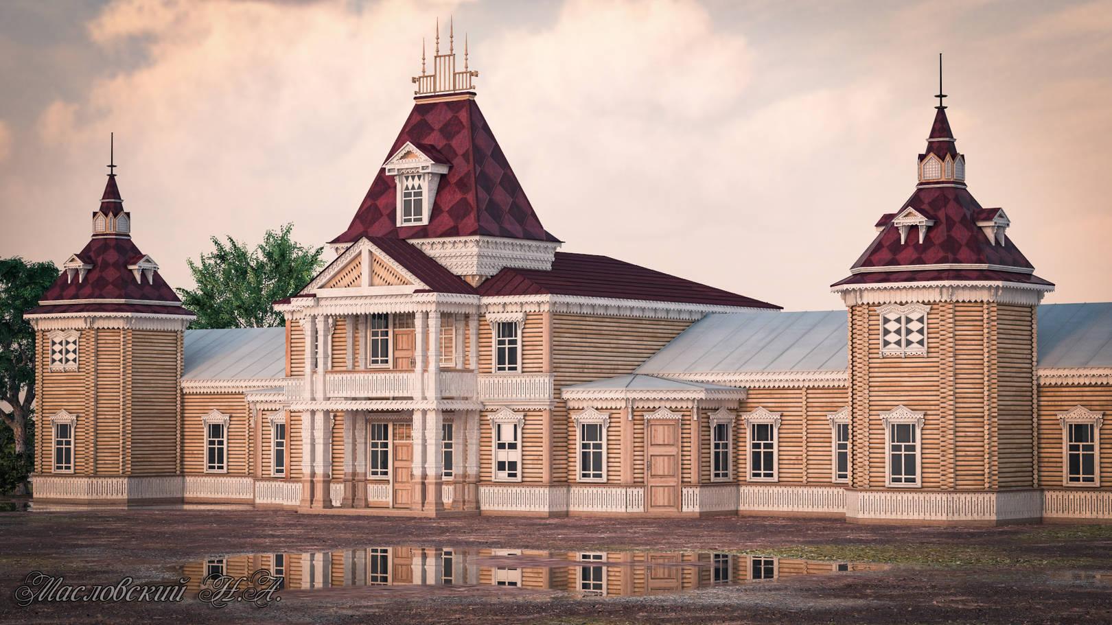 """Тобольский театр """"Теремок"""" вид1 (утраченное строение) воссоздал по фотографиям."""