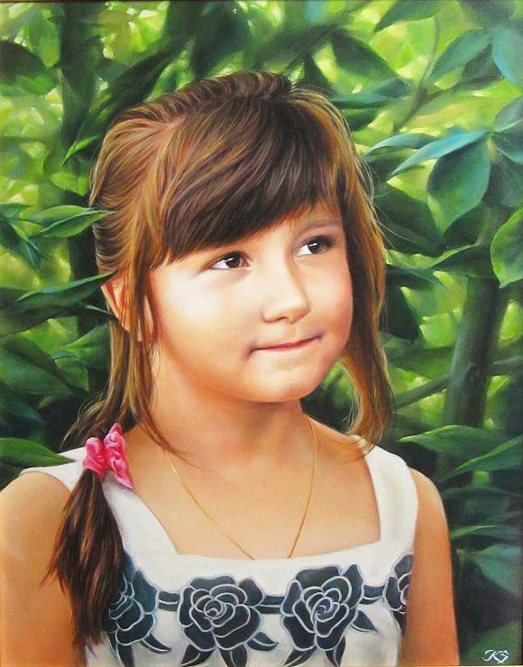 Портрет девочки,кожа, масло, 70х50, 2013