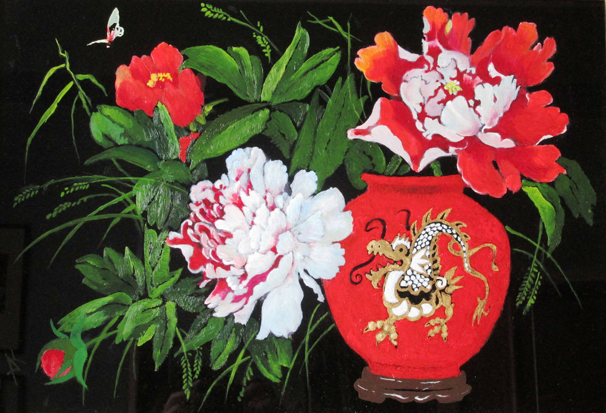 Красный пион в китайской вазе