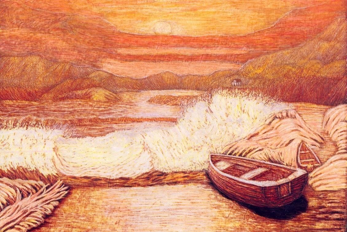 Закат.Волна