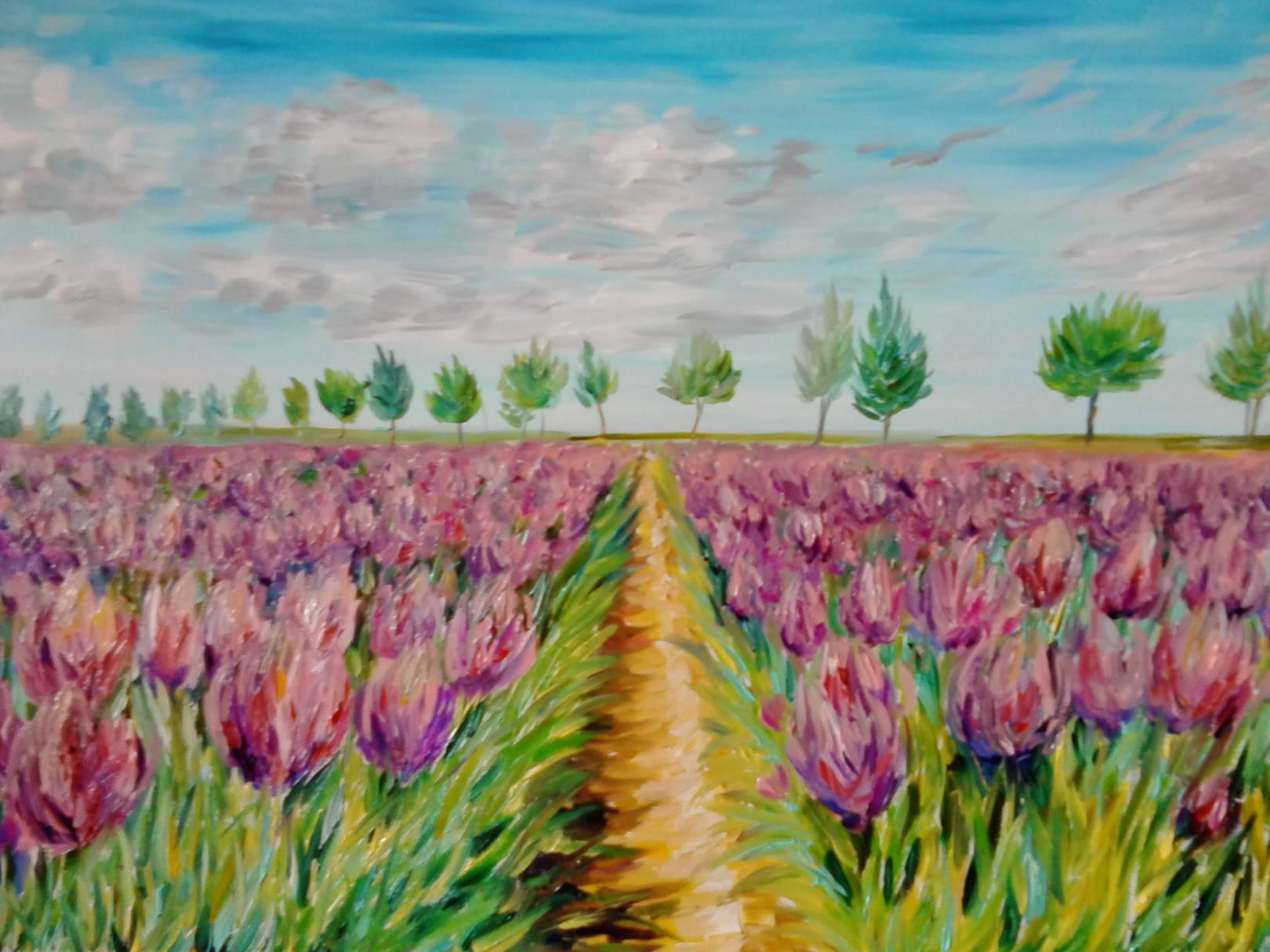 Поле сиреневых тюльпанов