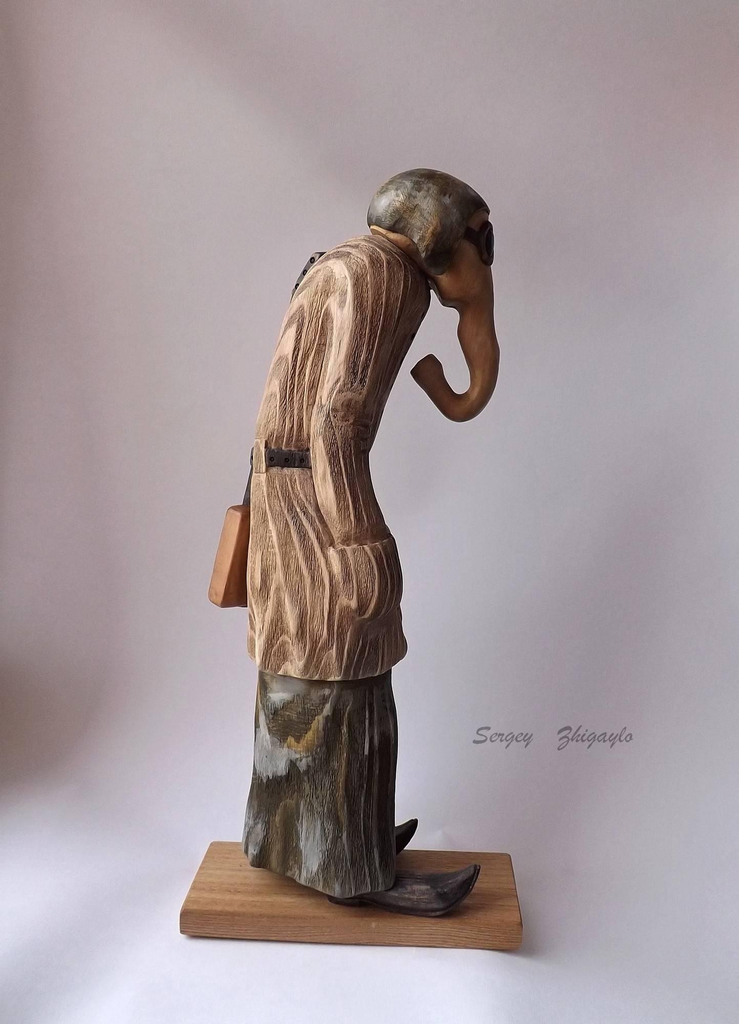 """""""Бродячий музыкант"""" - дерево (береза, сосна), 42 см. """"Vagrant musician"""" - wood (birch, pine), 42 cm."""