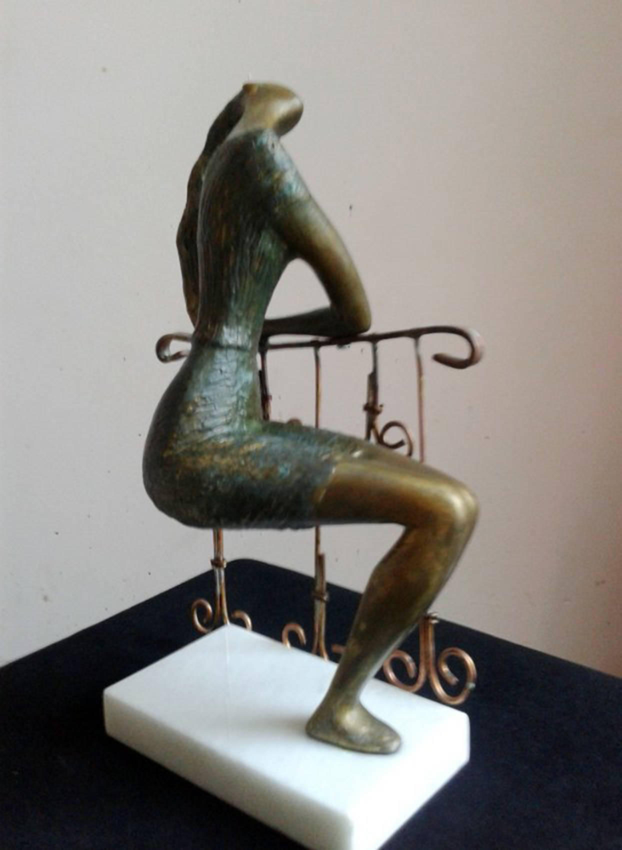 Girl in the Balcon_Mixed_Metals 1998year15x10x6in FOR SALE