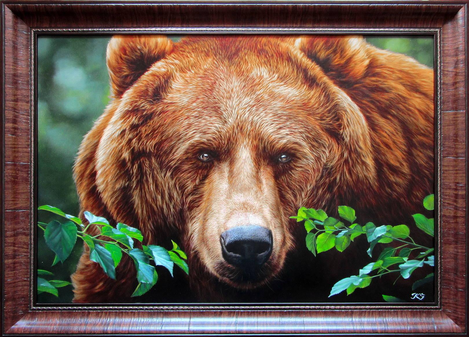 Медведь ll, 54х80,кожа, масло, 2016, багет