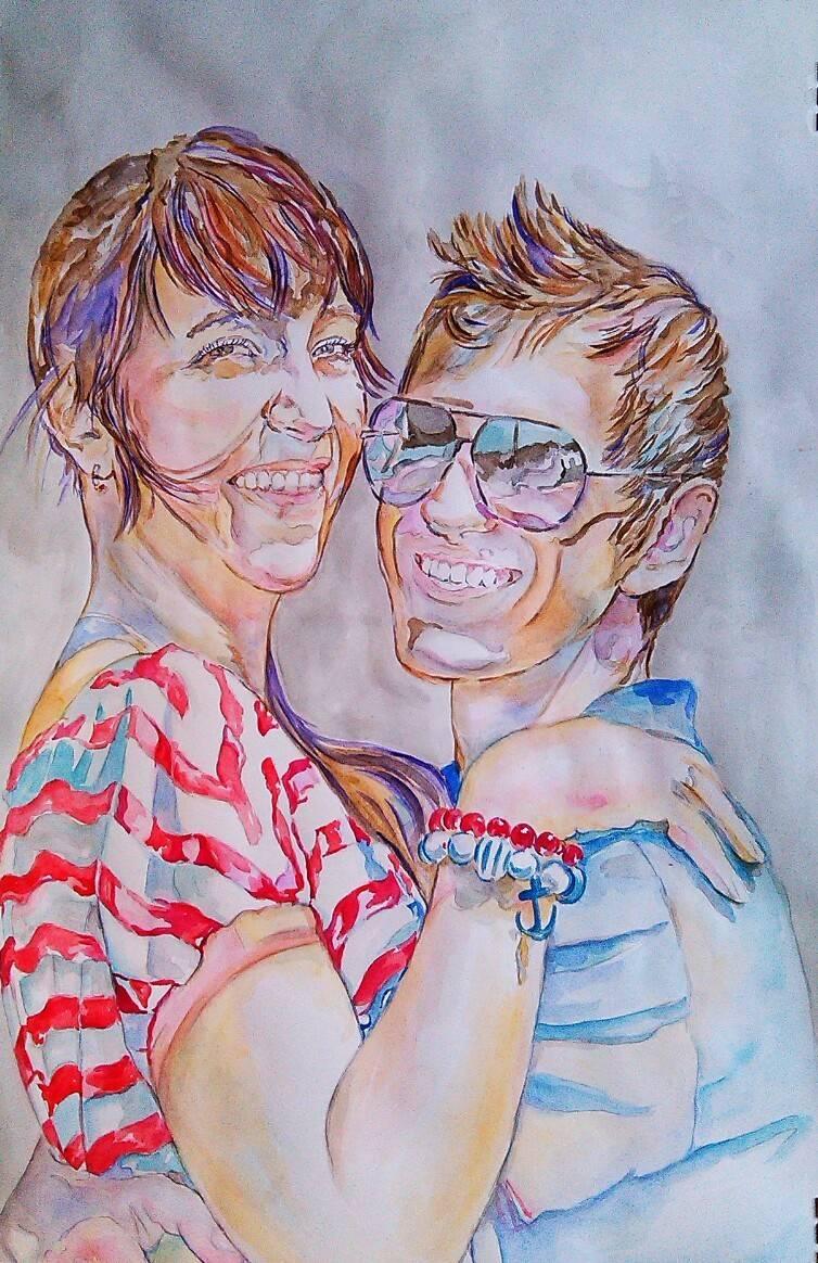 Портрет супругов, акварель, бумага, 60*40, 2016 год