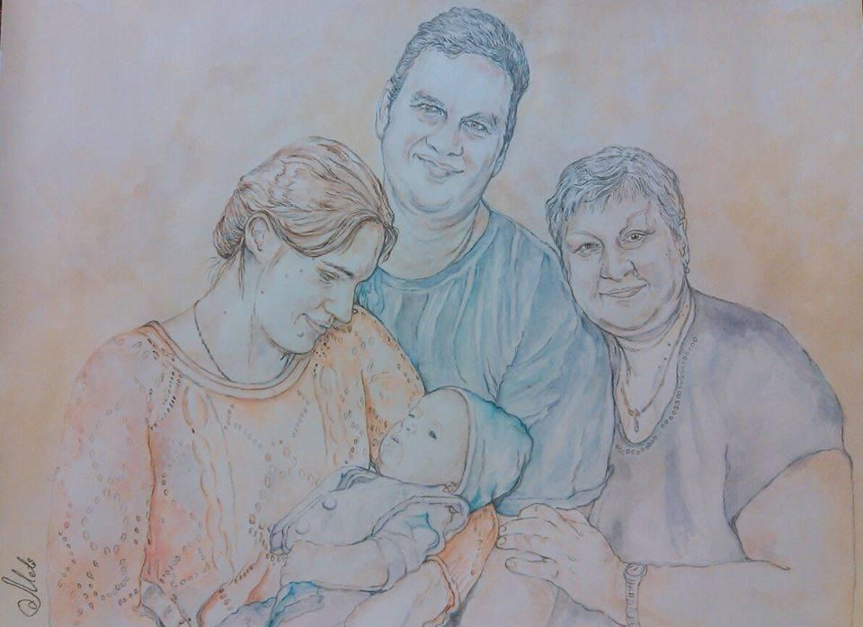 Портрет семьи, акварель, бумага, 40930, 2015 год