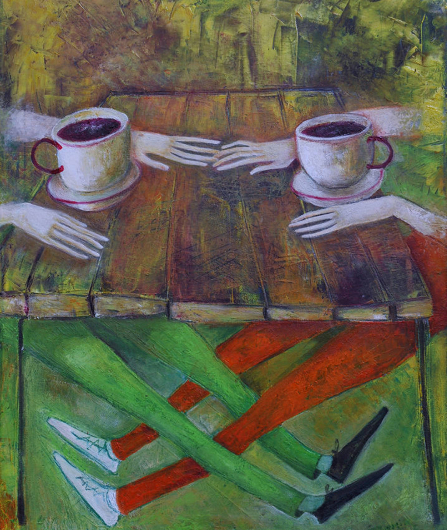 .Cafe 2013year21x17inOriginal Painting Oil on Canvas 4000$