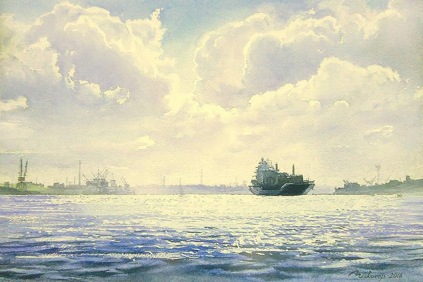 ,,В нашу гавань заходили корабли,,акв.бум.Saunders Waterford 356 гр.34*50 см.2016 г.