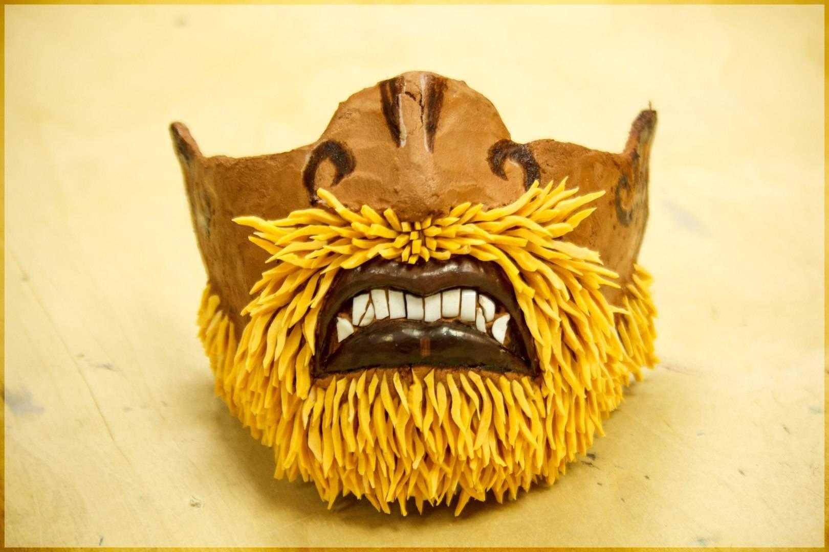 Маска с бородой (папье маше, смальто-керамика)