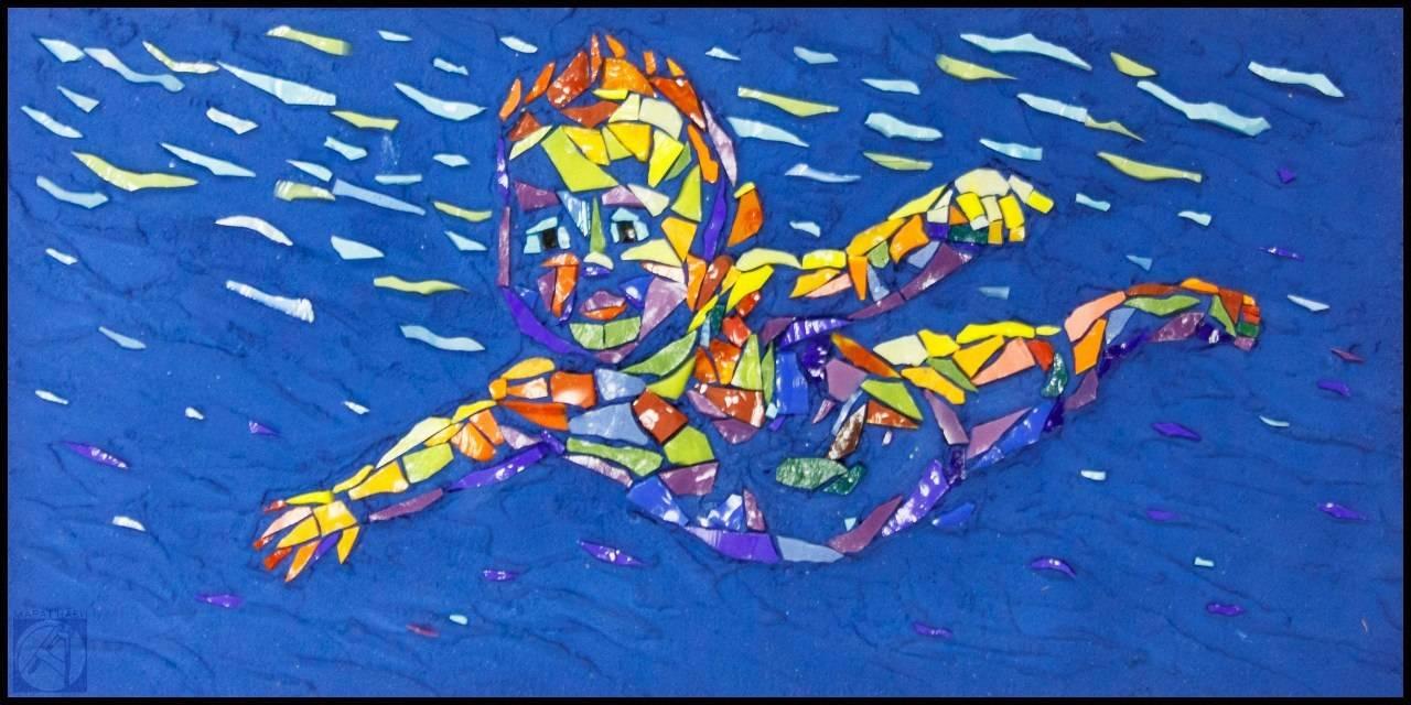 """""""Юный пловец"""" мозаичная миниатюра 15х30см, смальта"""