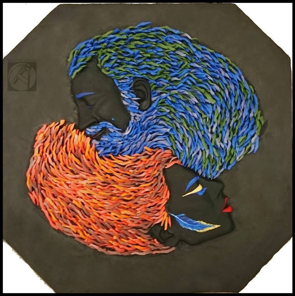 """Пара"" 2015 38х38 см. глина, смальто-керамика"