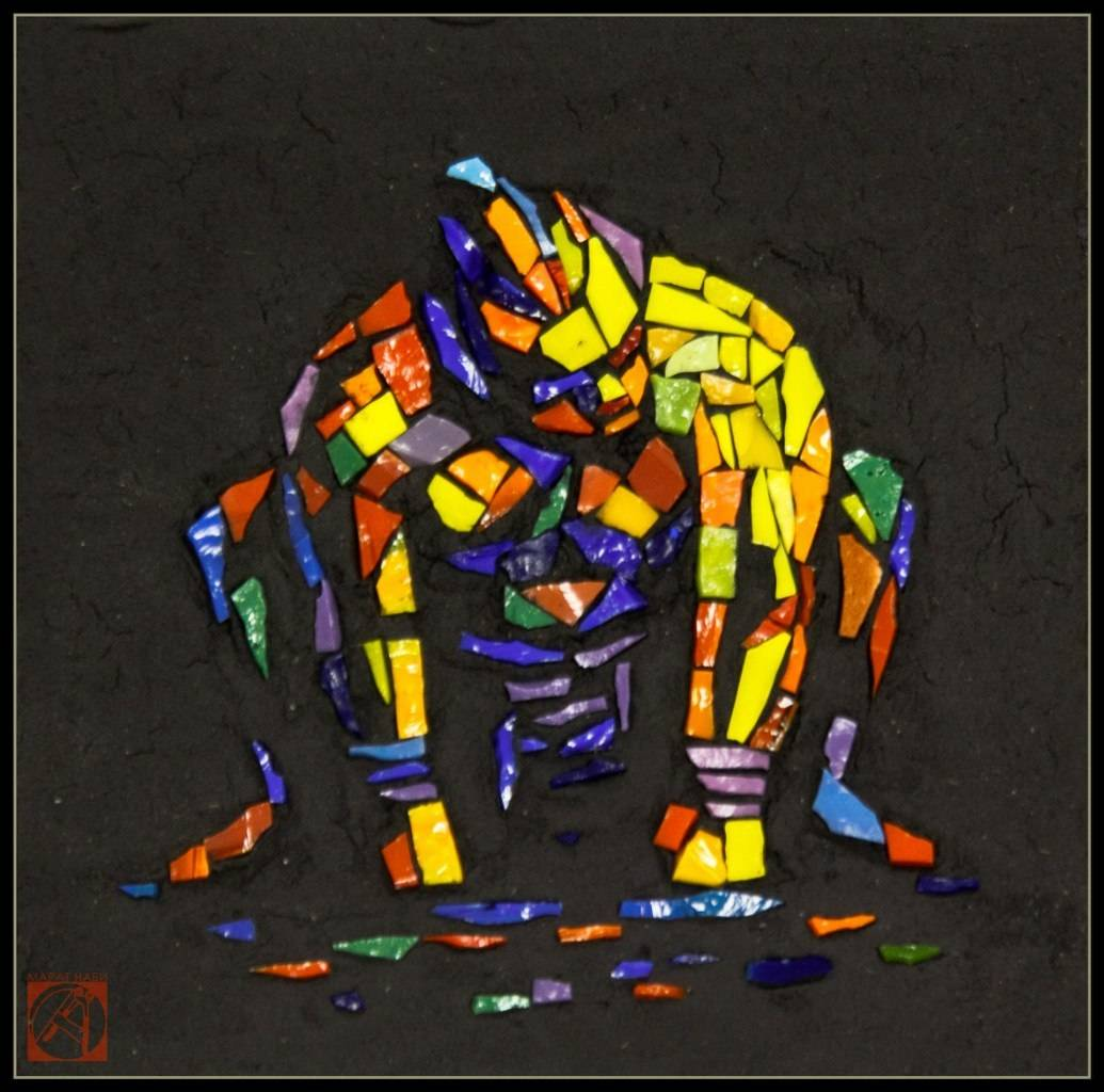 """""""Сумоист""""  (мозаичная миниатюра) 15х15 см смальта. 2016"""