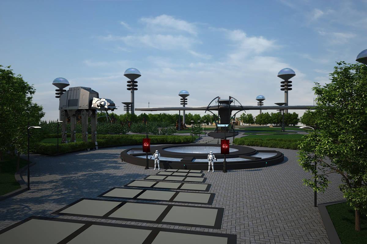 """Дизайн-проект ландшафта парковой зоны """"Новая надежда""""Входная группа."""