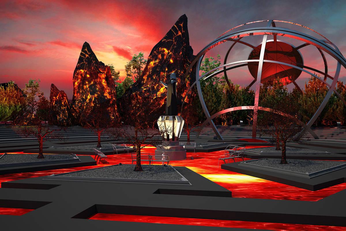 """Дизайн-проект ландшафта парковой зоны """"Новая надежда"""".Огненная локация Мустафар- зона отдыха."""