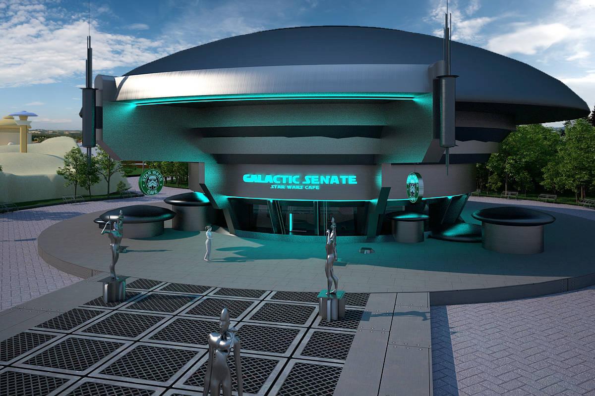 """Дизайн-проект ландшафта парковой зоны """"Новая надежда"""".Галактический Сенат-кафе."""