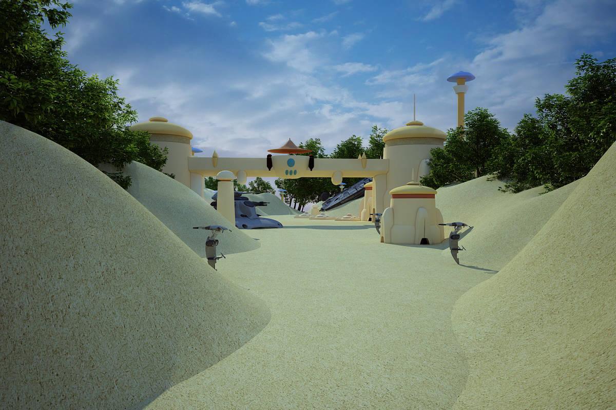 """Дизайн-проект ландшафта парковой зоны """"Новая надежда"""".Татуин-прогулочная зона,зона отдыха,магазины"""