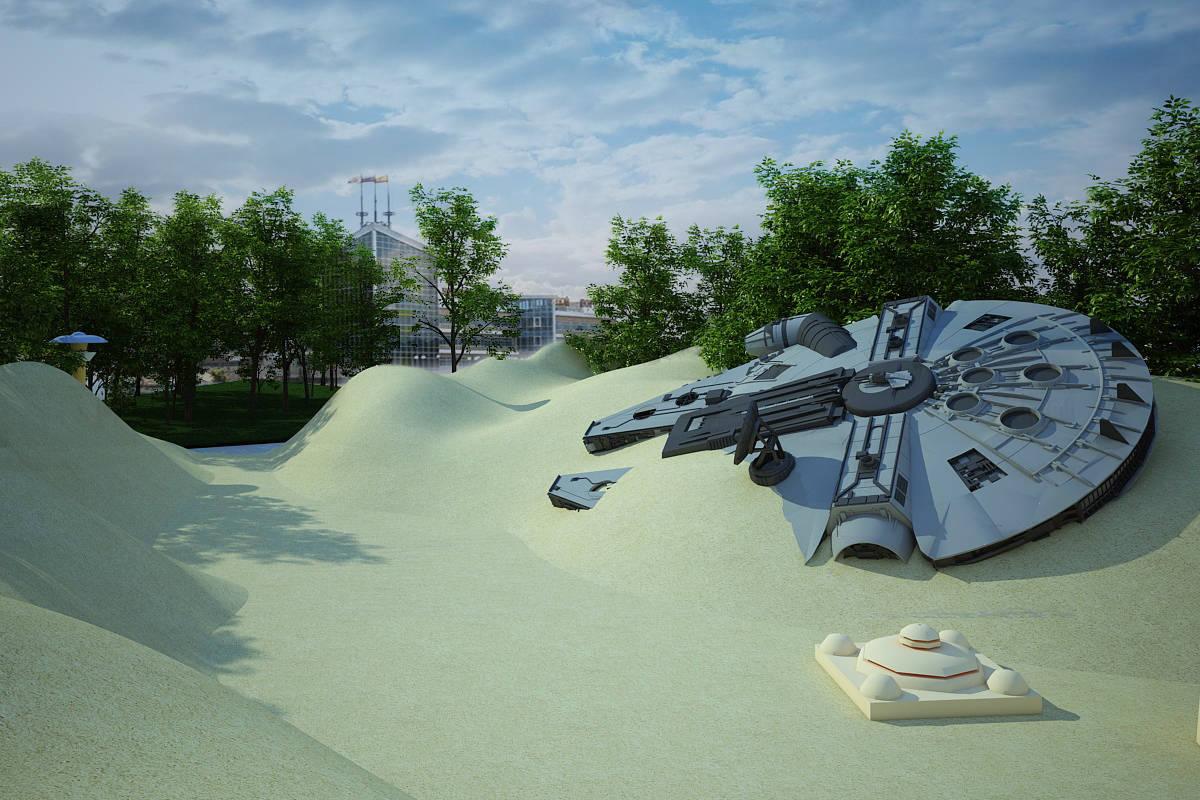 """Дизайн-проект ландшафта парковой зоны """"Новая надежда"""".Татуин-прогулочная зона,зона отдыха,магазины."""