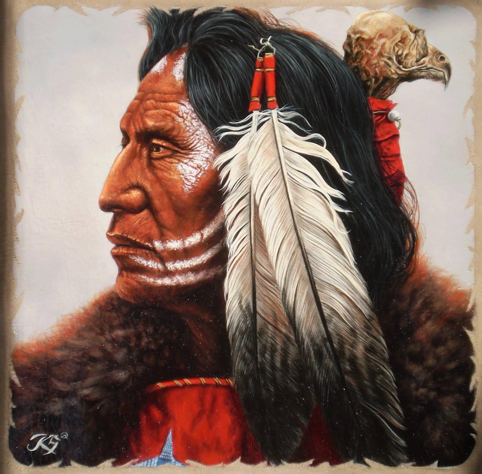 Chief,кожа, масло, 44х45, копия