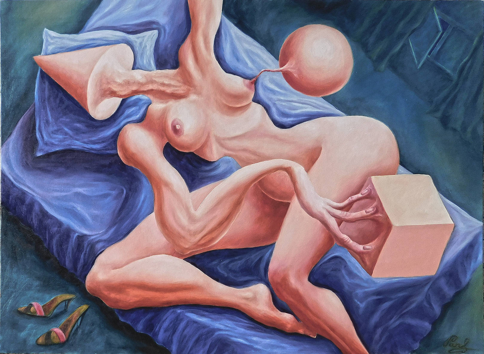 """""""Перетекание абстрактного сна в геометрическую реальность"""", ткань на оргалите/масло, 60х82 см."""
