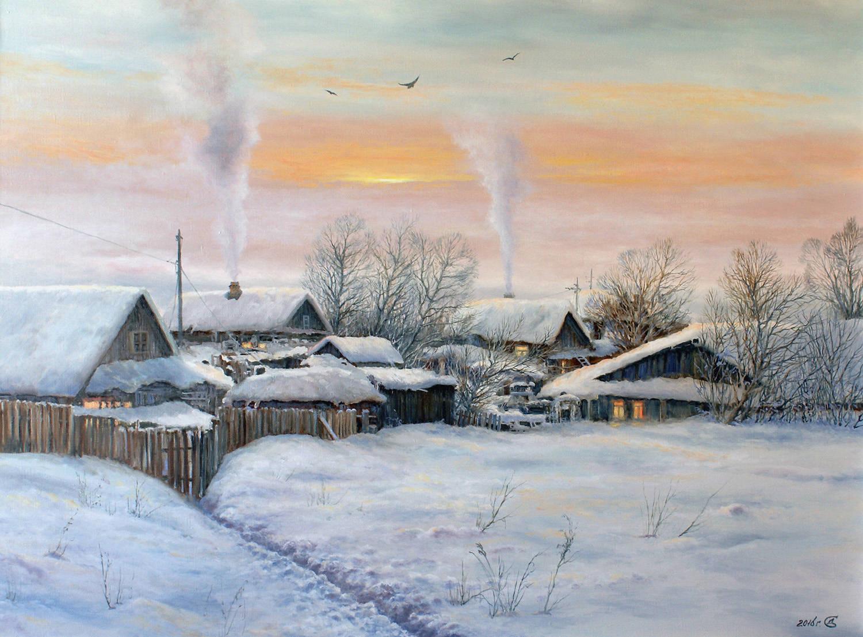 """""""Зимний вечер в глубинке"""" - х/м, 60х80"""