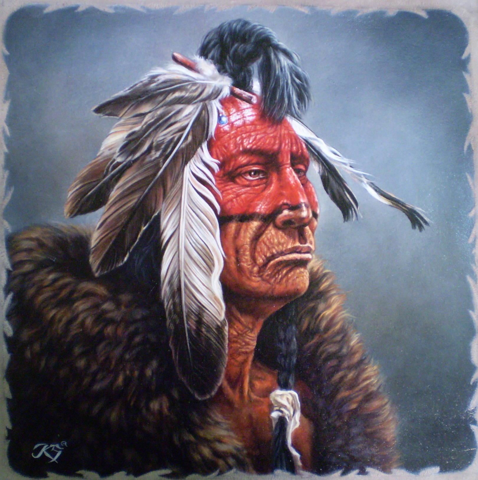 Chief3,кожа, масло, 44х45, копия