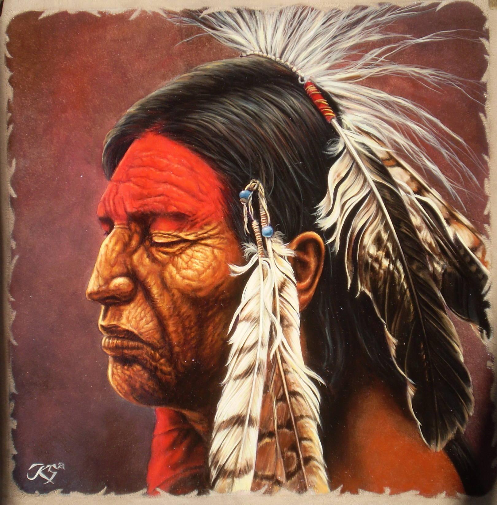 Chief4,кожа, масло, 44х45, копия