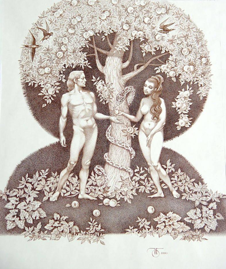 """""""Адам и Ева""""  тушь, перо"""